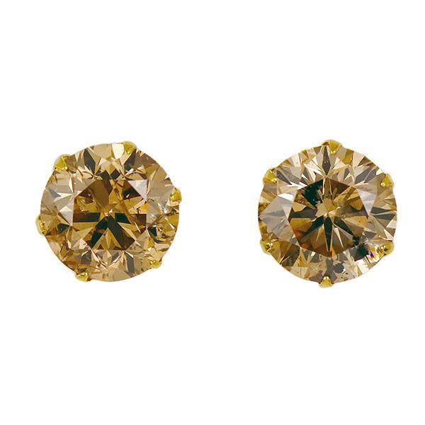 ピアス 一粒 ダイヤモンド ネックレス イエローゴールド ダイヤモンド ダイヤ 1カラット 合計2カラット ファンシーカラー