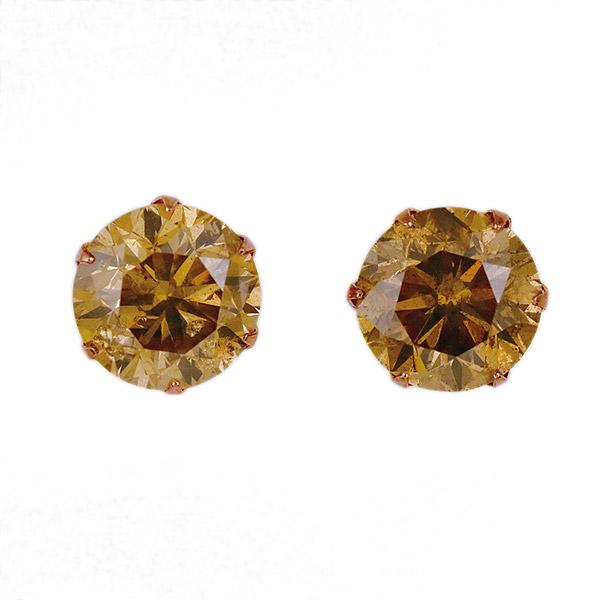 ピアス 一粒 ダイヤモンド ネックレス ピンクゴールド ダイヤモンド ダイヤ 1カラット 合計2カラット ファンシーカラー
