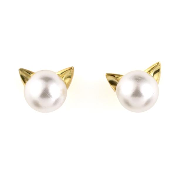 猫 ネコ ピアス 18金 イエローゴールド アコヤ真珠 モチーフ