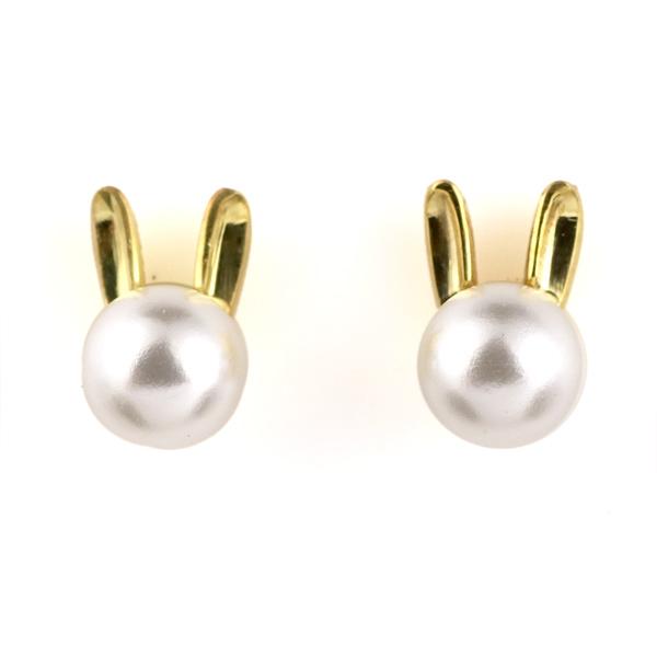 兎 ウサギ ピアス 18金 イエローゴールド アコヤ真珠 モチーフ