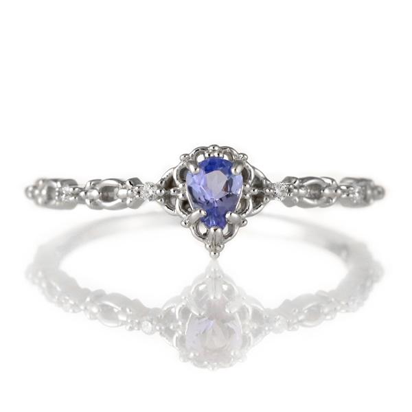 指輪 タンザナイト ダイヤモンド 18金 K18 18k 金 18K 18k ホワイトゴールド 天然ダイヤ デイリー カジュアル 【DEAL】