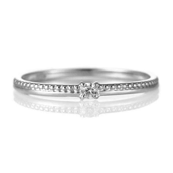 指輪 ダイヤモンド 18金 K18 18k 金 18K 18k ホワイトゴールド ミル打ち アンティーク デイリー カジュアル 【DEAL】