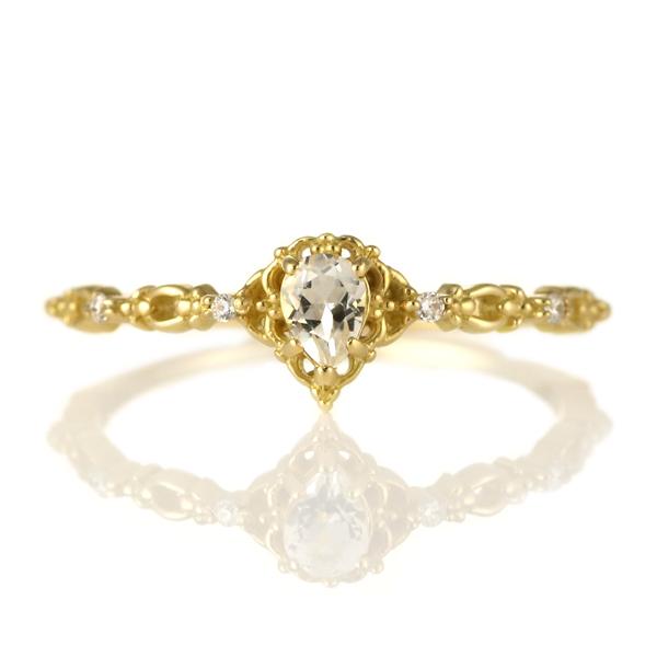 指輪 ホワイトトパーズ ダイヤモンド 18金 K18 18k 金 18K 18k イエローゴールド 天然ダイヤ デイリー カジュアル 【DEAL】