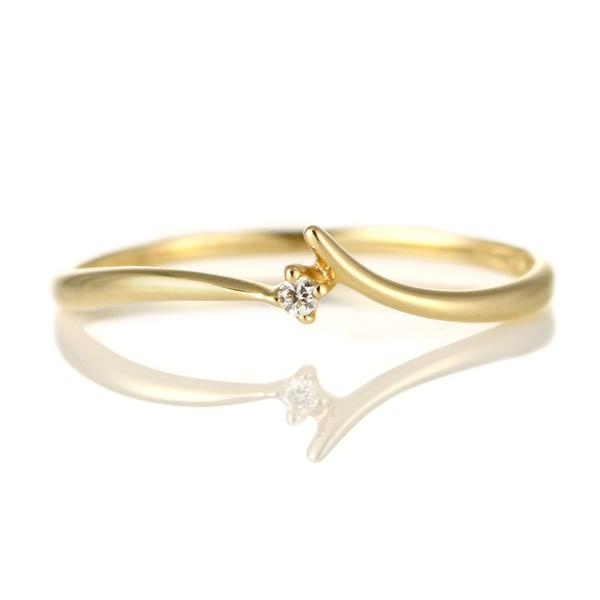 指輪 ダイヤモンド 18金 K18 18k 金 18K 18k イエローゴールド 一粒 デイリー カジュアル 【DEAL】