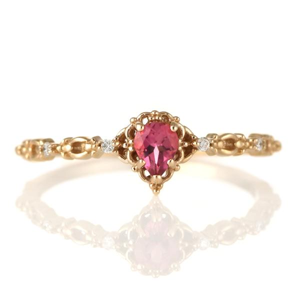 指輪 ピンクトルマリン ダイヤモンド 18金 K18 18k 金 18K 18k ピンクゴールド 天然ダイヤ デイリー カジュアル 【DEAL】