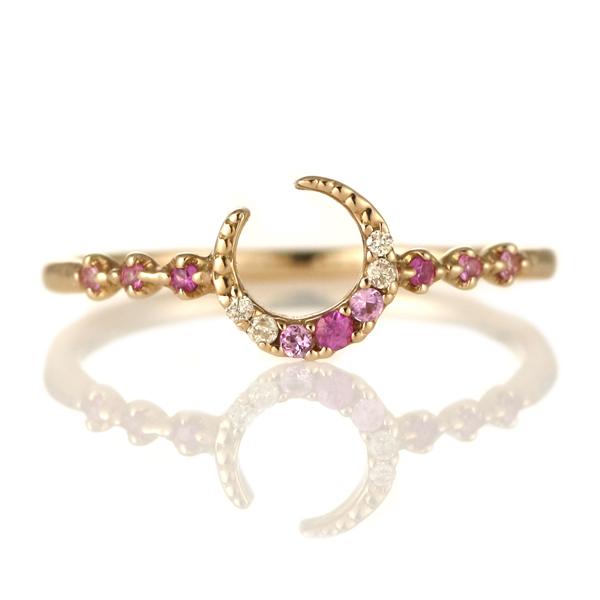 指輪 ダイヤモンド 18金 K18 18k 金 18K 18k ピンクゴールド 月 ムーン スター 星 ダイヤモンド ダイヤ ダイア ピンクサファイア 【DEAL】