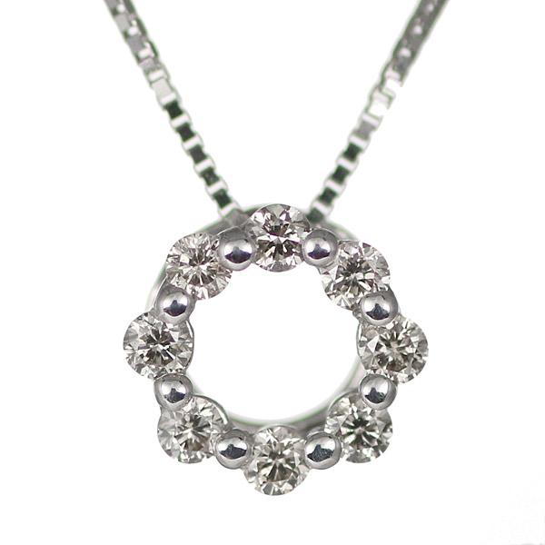 【スーパーSALE】ダイヤモンド ネックレス サークル ラウンド 丸い 18金 K18 18k ホワイトゴールド ネックレス 【DEAL】
