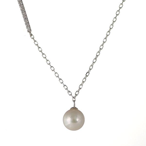 【スーパーSALE】真珠 あこや真珠 パール ダイヤモンド ネックレス 一粒 18金 K18 18k ネックレス 気品【DEAL】 末広 スーパーSALE【今だけ代引手数料無料】