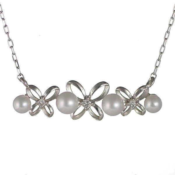 【スーパーSALE】お花 リボン あこや真珠 パール ダイヤモンド ネックレス 18金 K18 18k ネックレス【DEAL】 末広 スーパーSALE【今だけ代引手数料無料】