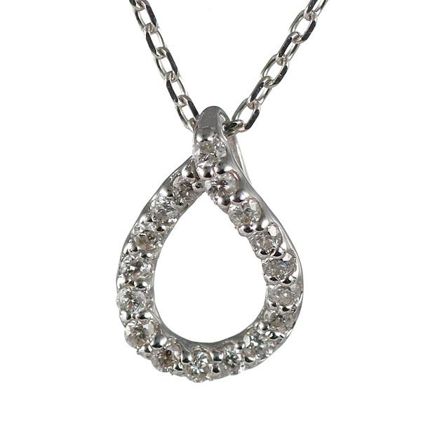 【スーパーSALE】ダイヤモンド ネックレス ドロップ しずく ホワイトゴールド 18金 K18 18k ネックレス 【DEAL】 末広 スーパーSALE