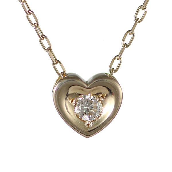 【スーパーSALE】ダイヤモンド ネックレス ハート 一粒 ゴールド 10金 ネックレス 【DEAL】 末広 スーパーSALE【今だけ代引手数料無料】