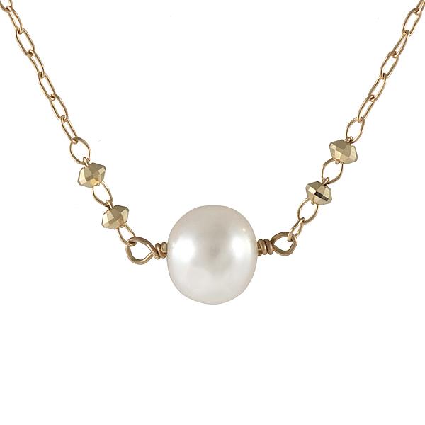 【スーパーSALE】真珠 あこや真珠 パール ネックレス 一粒 18金 K18 18k ミラーボール ゴールド ネックレス