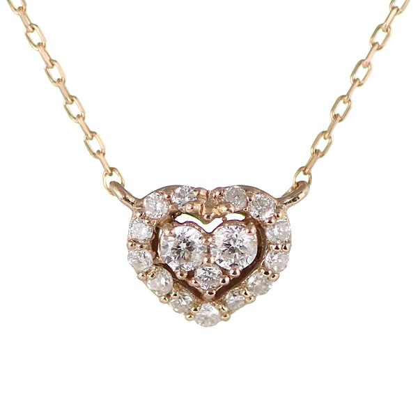 【スーパーSALE】ダイヤモンド ネックレス パヴェ ハート 18金 K18 18k ピンクゴールド ネックレス 【DEAL】