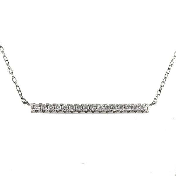 【スーパーSALE】プラチナ ダイヤモンド ネックレス 0.2カラット バー 棒 デザイン ネックレス ペンダント レディース ジュエリー 【DEAL】 末広 スーパーSALE