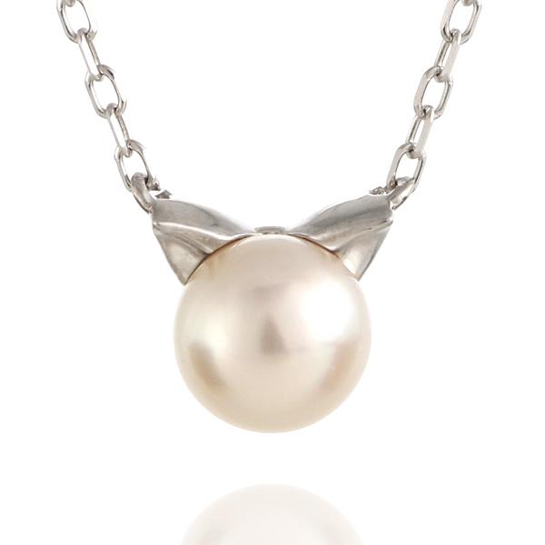 猫 ネコ ネックレス ホワイトゴールド アコヤ真珠