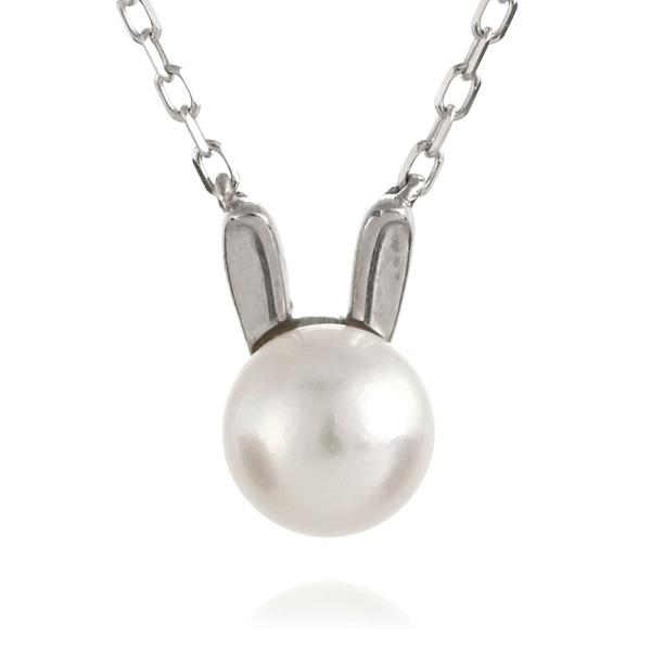 兎 ウサギ ネックレス ホワイトゴールド アコヤ真珠