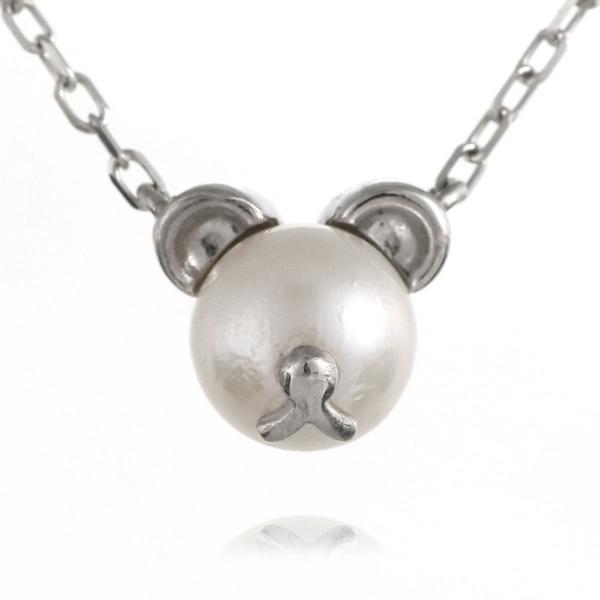 熊 クマ ネックレス ホワイトゴールド アコヤ真珠