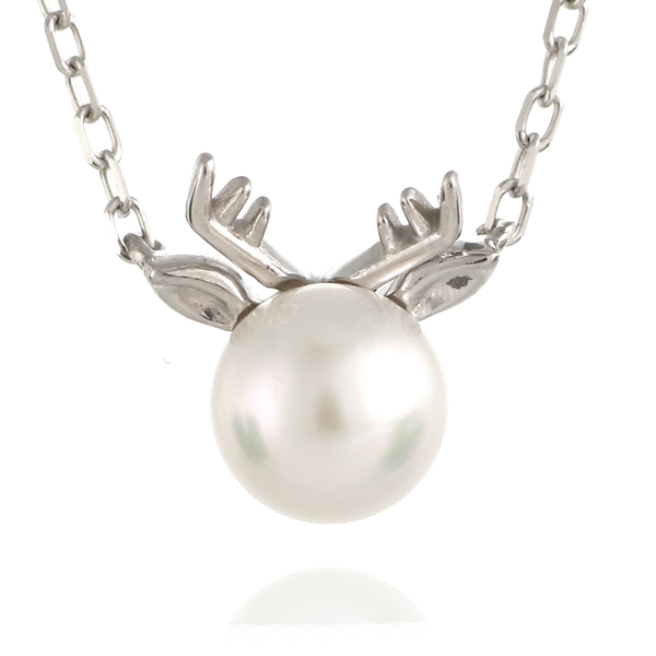 鹿 シカ トナカイ ネックレス ホワイトゴールド アコヤ真珠