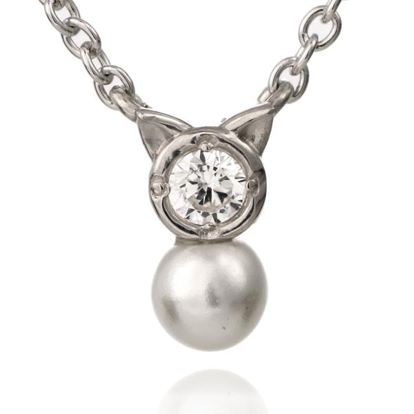 猫 ネコ ネックレス ホワイトゴールド ダイヤモンド アコヤ真珠 モチーフネックレス