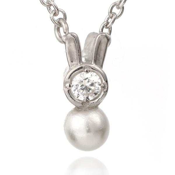 兎 ウサギ ネックレス ホワイトゴールド ダイヤモンド アコヤ真珠 モチーフネックレス