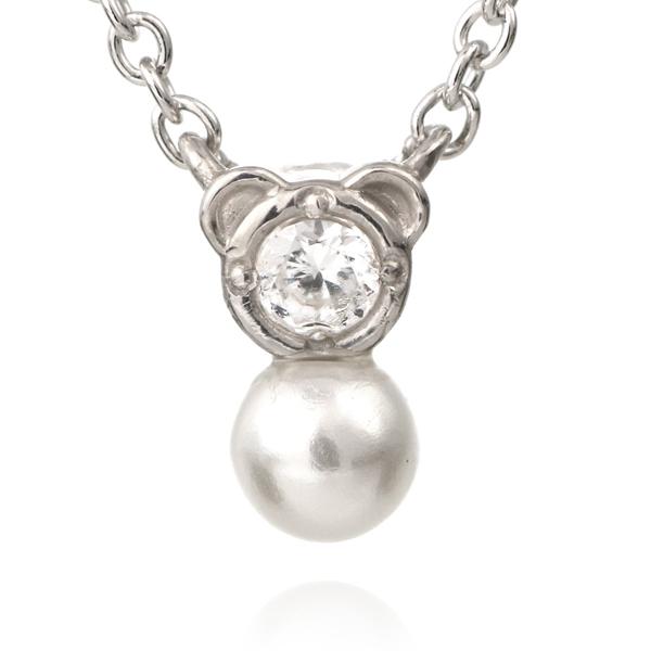 熊 クマ ネックレス ホワイトゴールド ダイヤモンド アコヤ真珠 モチーフネックレス