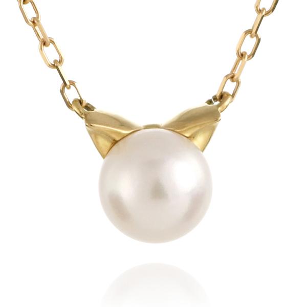 猫 ネコ ネックレス イエローゴールド アコヤ真珠