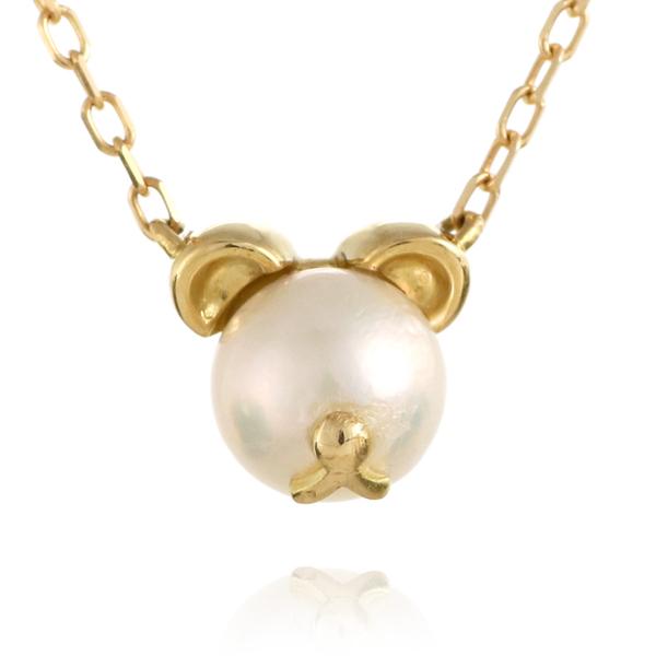 熊 クマ ネックレス イエローゴールド アコヤ真珠