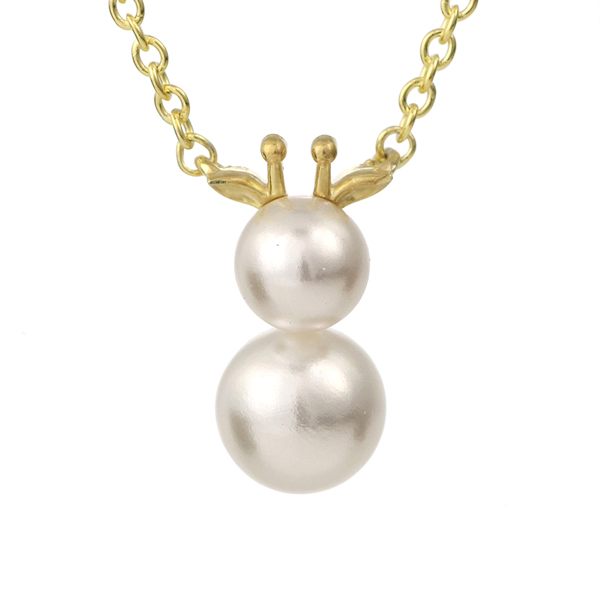 麒麟 キリン ネックレス イエローゴールド アコヤ真珠 モチーフネックレス