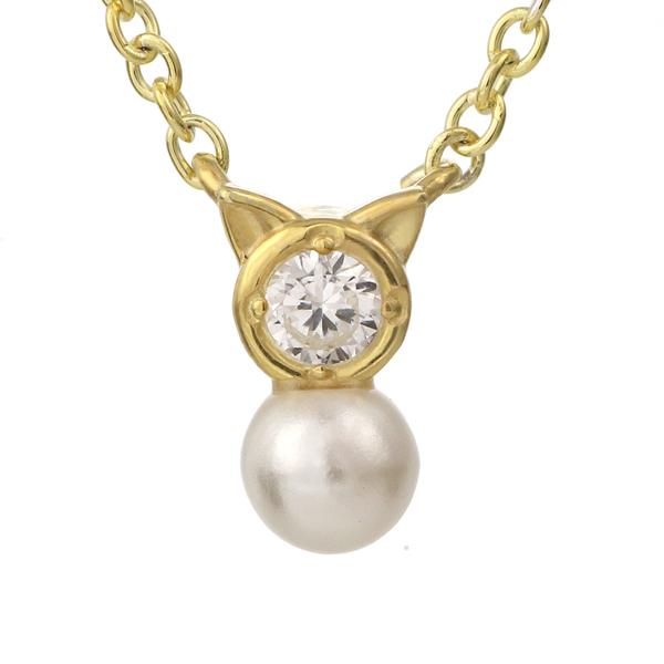 【今だけエントリーで全品5倍!5/18まで限定!】猫 ネコ ネックレス イエローゴールド ダイヤモンド アコヤ真珠 モチーフネックレス