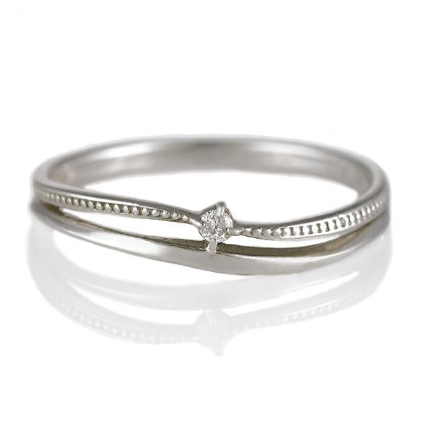 リング ダイヤモンド K18 ホワイトゴールド 18金 クロス ウェーブ 二連