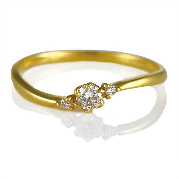 リング ダイヤモンド K18 イエローゴールド 18金 ウェーブ ダイヤ 人気 プレゼント【DEAL】 末広 スーパーSALE