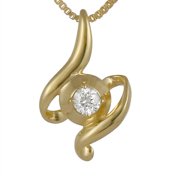 ダイヤモンド 一粒 イエローゴールド 18金 K18 18k ウェーブ 螺旋 らせん ネックレス ダイヤ 人気 おすすめ 【DEAL】 末広 スーパーSALE