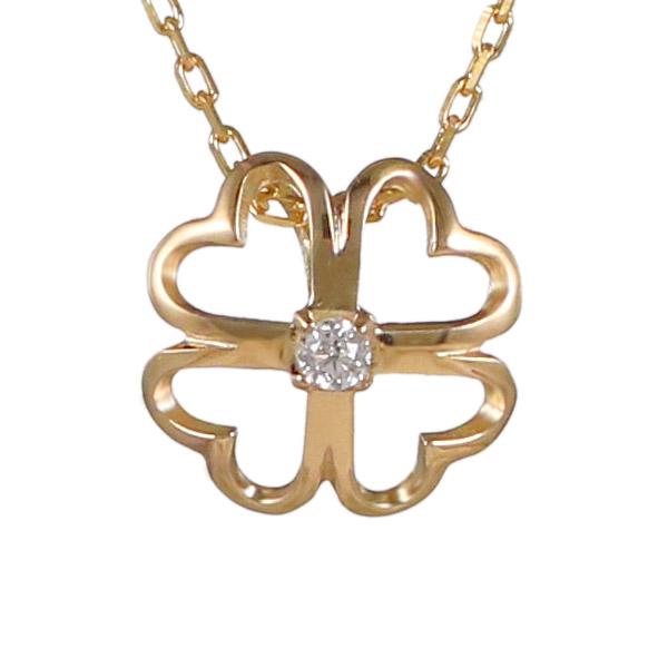 ダイヤモンド カラット 4月誕生石 4月 誕生石 イエローゴールド 花 フラワー クローバー ダイヤ ネックレス 人気 おすすめ 【DEAL】