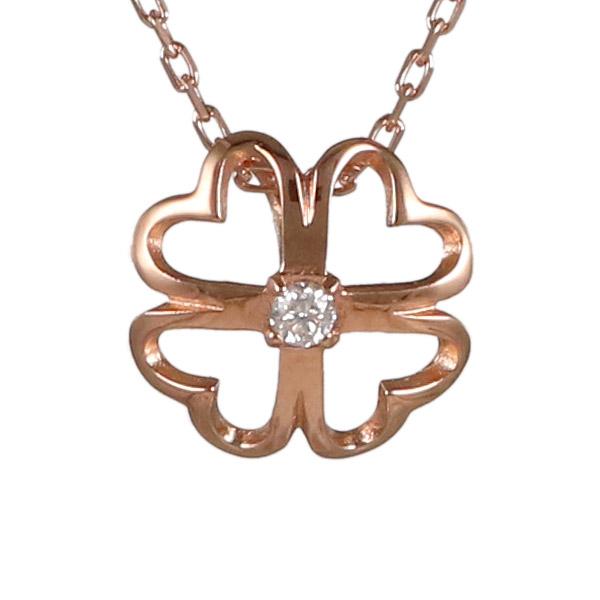 ダイヤモンド カラット 4月誕生石 4月 誕生石 ピンクゴールド 花 フラワー クローバー ダイヤ ネックレス 人気 おすすめ 【DEAL】