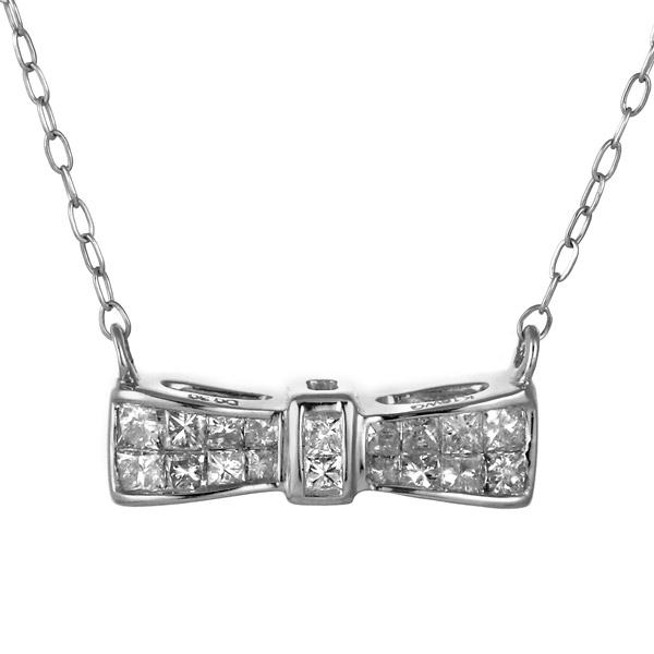 ネックレス ダイヤモンド ホワイトゴールド 18金 K18 18k リボン レディース【DEAL】 末広 スーパーSALE【今だけ代引手数料無料】