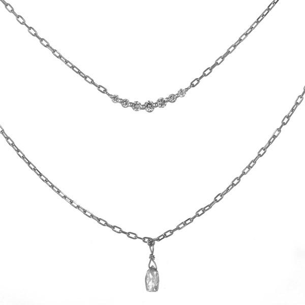 ネックレス ダイヤモンド プラチナ 2連 一粒 レディース