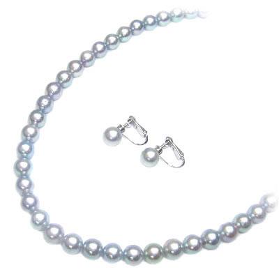 ( 6月誕生石 ) アコヤ真珠グレーパールネックレス・イヤリングセット(本真珠) 【DEAL】