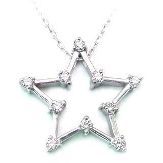 ( K18WG )ダイヤモンドペンダントネックレス(スターモチーフ)