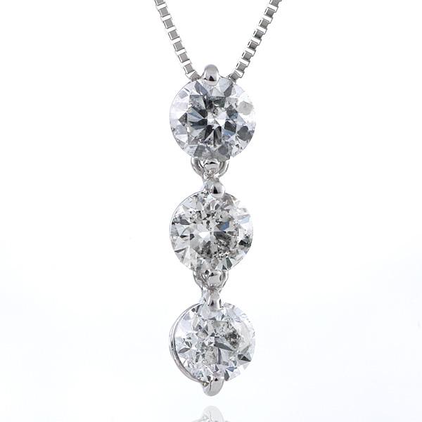 ダイヤモンド ネックレス 1.2ct 1.2カラット スリーストーン プラチナ トリロジーストーン 鑑別書付 末広 スーパーSALE