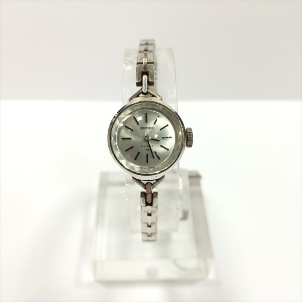 SEIKO (SEIKO) rolling by hand watch 11-0250 white ST.STEEL rolling by hand Lady's watch all shop ok1