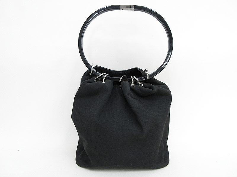 56edfc4702aa GUCCI(グッチ) プラスティックハンドル 巾着ハンドバッグ 0013750 黒 ...