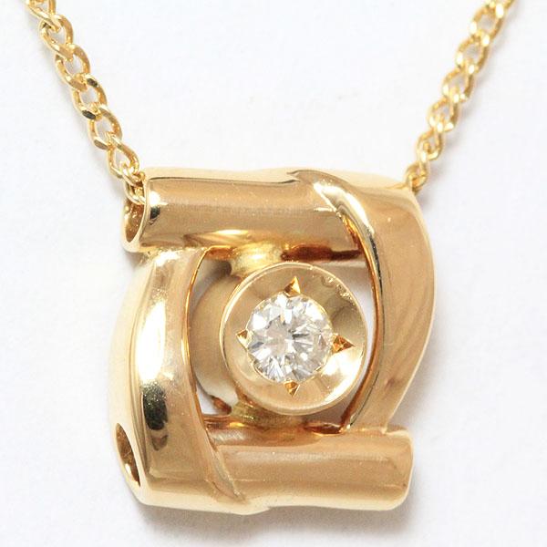 ダイヤモンド 0.05ct ネックレス 18金イエローゴールド(K18YG)  【中古】 ジュエリー 【新品仕上げ済み】 netshop【2018712】
