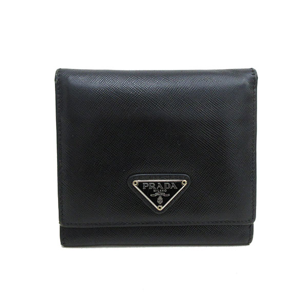 d83cc8af1274 PRADA(プラダ) 三つ折り財布 黒 ブラック サフィアーノ 【ブランド財布】 【中古