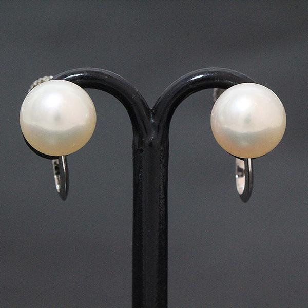 真珠 パール 直径約7.0mm イヤリング 14金ホワイトゴールド(K14WG)  【中古】 ジュエリー 【新品仕上げ済み】 netshop【2018723】