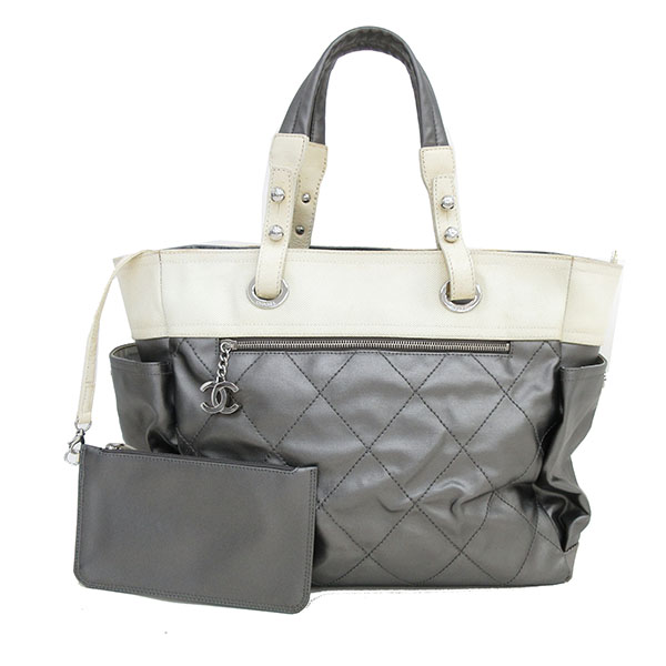 0f8a3acced55ed It is netshop CHANEL (Chanel) Paris Biarritz large tote bag gray X white  white [brand bag] [used]
