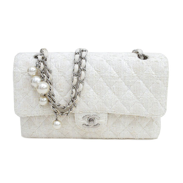 59e9f80c0679 It is netshop CHANEL (Chanel) matelasse 25 Ginza-limited article pearl W  flap chain shoulder bag white white tweed [brand bag] [used]
