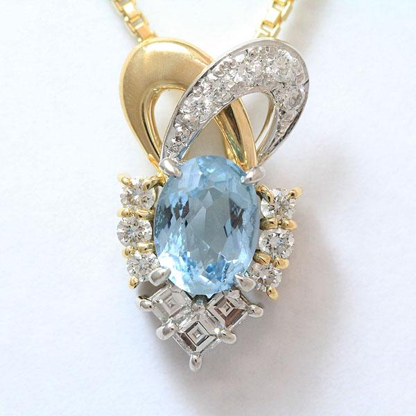 b1694513c49e POLA(ポーラ)ネックレスアクアマリン1.00ctダイヤモンド計0.48ct18金イエローゴールド ...