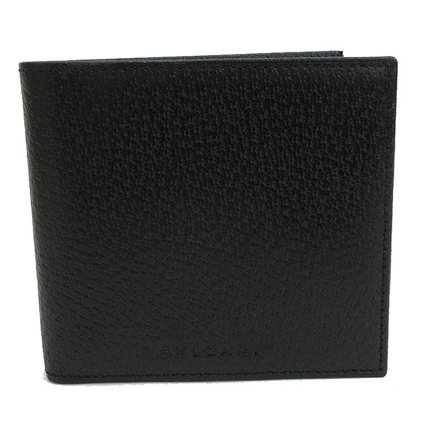 BVLGARI(ブルガリ) 二つ折り財布 黒 ブラック ピッグスキン 【ブランド財布】 【中古】 netshop【20181024】
