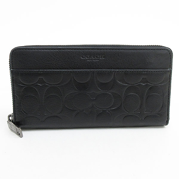 check out 6ec1a 83652 COACH (coach) エンボスドシグネチャーラウンドファスナー long wallet F74999 black black leather  netshop