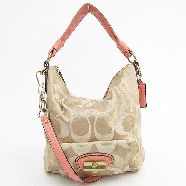 9e858ccc7e Take COACH (coach) signature 2WAY long shoulder bag slant; 14904 beige X  pink ...